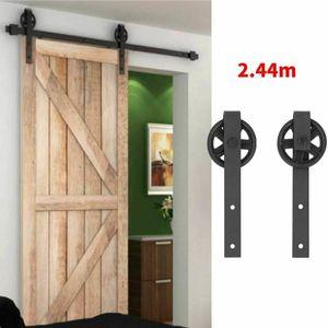 244cm Schiebetürsystem Set 150kg Schiebetürbeschlag Zubehörteil für Holztüren inklusive Laufschiene Komplettse