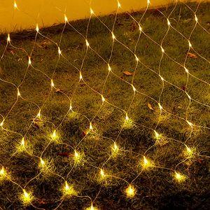 LED Lichternetz 2X2m 144Leds Warmweiß Lichterkette Lichtervorhang 8 Lichtmodi Innen Außen Party Garten Weihnachtsbeleuchtung