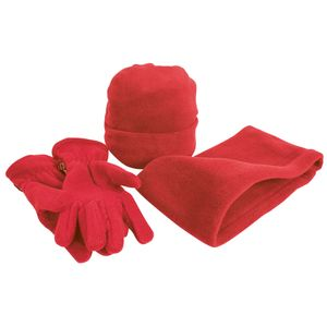 Result Unisex Active Fleece Winter-Set mit Mütze, Handschuhen und Halswärmer , Anti-Pilling RW3228 (M) (Rot)