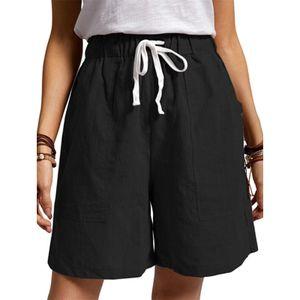 Damen Baumwolle Leinen Jogginghosen Shorts Freizeithosen Lässige Strandshorts,Farbe:Schwarz,Größe:M