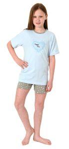 Mädchen Shorty Pyjama kurzarm Schlafanzug - Tupfenoptik und Herzmotiv - 102 405 10 800, Farbe:hellblau, Größe:158/164