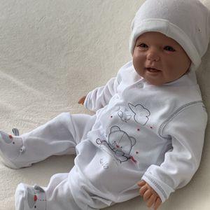 Baby Jungen Mädchen Strampler Schlafanzug Einteiler Gr. 56 Bärchen