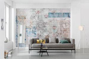 "Komar Vlies Fototapete ""Patches"", weiß/blau/braun/rosa, 368 x 248 cm"