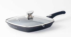 Grillpfanne, Steakpfanne, Fischpfanne mit Deckel Abnehmbarem Griff Ø 28 cm Farbe Black | 2-teilig 2,7 Liter