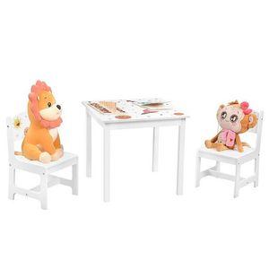 SONGMICS Kindertisch mit 2 Stühlen 3er set Tischbeine aus Massivholz Kindermöbel weiß GKR010W01