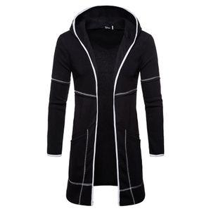 Lässige Strickjacke für Herren warme lange Strickjacke mit Kapuze und Kapuze,Farbe: schwarz,Größe:XL