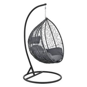 Hängesessel Capileira 1-Sitzer Outdoor Hängestuhl mit Gestell und Kissen Hängekorb bis 150 kg Dunkelgrau