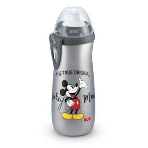 NUK Disney Mickey Mouse Sports Cup, Volumen 450 ml, Push-Pull-Tülle aus Silikon, ab 36 Monaten, BPA frei, grau
