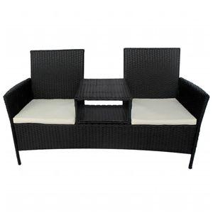 vidaXL 2-Sitzer-Gartensofa mit Teetisch Poly Rattan Schwarz