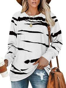 Damen gestreift Casual Top Loose Sweatshirt T-Shirt,Farbe: Weiß,Größe:M