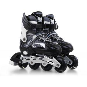 Inline Skates Verstellbar für Damen Kinder Gr. 33-37 Schwarz