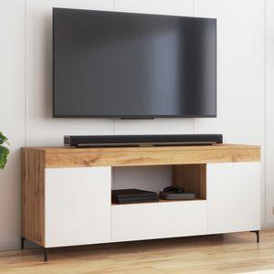 Selsey Fernsehschrank GUSTO - modernes TV-Lowboard in Lancaster Eiche / Weiß Matt, stehend, 137 cm breit