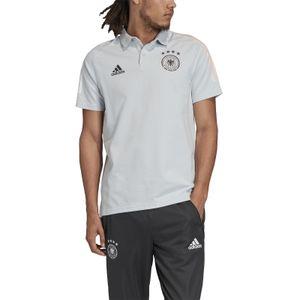 adidas Herren Fussball Training Freizeit DFB Baumwoll Polo Shirt hellgrau, Größe:L
