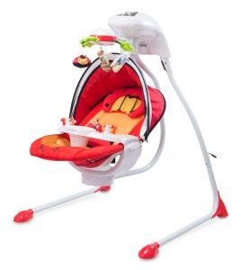 CARETERO Bugies Babyschaukel Babywippe Schaukelwippe drehbarer Sitz Timer elektronisches Mobile mit Lichern Red