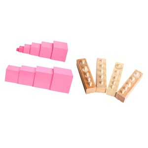 2 Satz Montessori Sensory Toys Rosa Turm + Zylinderblöcke Familie Set