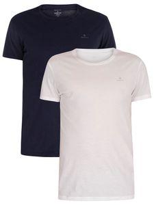 GANT Herren 2er Pack Lounge T-Shirts mit Rundhalsausschnitt, Blau XL