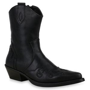 Mytrendshoe Herren Cowboy Boots Western Stiefel Spitze Schuhe 825427, Farbe: Schwarz, Größe: 40