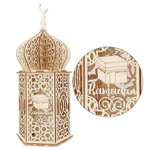 Eid Mubarak-Ramadan Laterne LED Holz Palace Lampe Eid Mubarak Laterne Dekorative Laterne Kareem Muslim