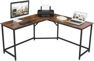 VASAGLE Schreibtisch einfache Montage L-förmiger Computertisch Bürotisch platzsparend  Industrie-Design vintagebraun-schwarz LWD73X