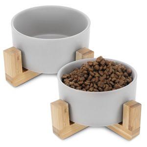 Navaris 2x Futternapf Katze mit Bambus Halter - Futterstation 2x Keramiknapf für Katzen Hunde - Keramik Fressnapf Set Futterbar mit Holz Halterung