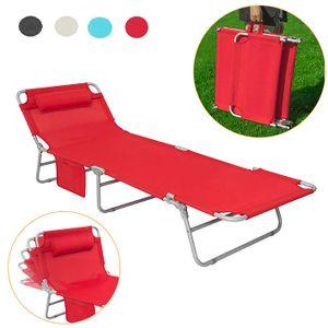 SoBuy® OGS35-R Gartenliege mit Seitentasche, klappbar, in rot