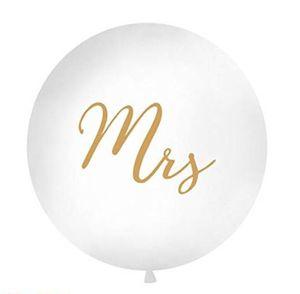 1 Riesenluftballon Riesenballon Hochzeit Mrs weiß Druck gold ca 100 cm ungefüllt