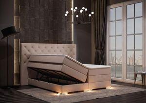 Mailand Chesterfield Boxspringbett mit Bettkasten Beige Stoff 180 x 200 cm