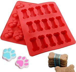 HelpCuisine® 2er Set Kuchenform – Silikon Backmatte für Eiswürfel, Schokolade, Süßigkeiten (2 Stück/Pfoten-,Fisch-, Knochenform)