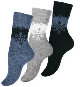 VCA® THERMO Socken 3 Paar, Eiskristall-Muster Schwarz/Grau/Blau 35-38