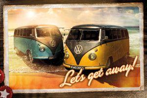 VW Volkswagen - Camper Call Lets Get Away Poster Plakat Druck - Größe 91,5x61 cm