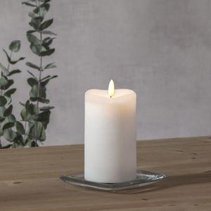 LED Stumpenkerze 'Flamme' - Echtwachs - warmweiße 3D Flamme - H: 14cm - Batteriebetrieb - Timer