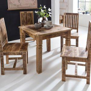 WERAN Esszimmertisch Mango Massivholz Design Landhaus Esstisch Küchentisch für 4 Personen Rustikal