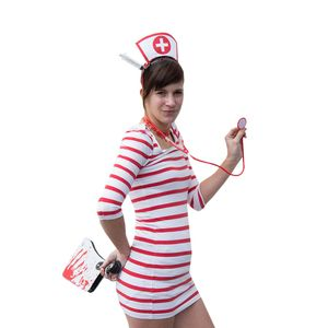 Oblique Unique y Krankenschwester Kostüm Accessoires - Haarreifen + Strumpfhose + Stethoskop