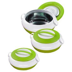 3/6tlg. KING® Thermobehälter-Set NOBLE / Fassungsvolumen: 1000, 1300, 2300 ml / Farbe: grün / weiß