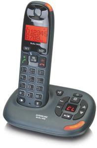Audioline Bigtel 158 Strahlungsarmes Schnurlostelefon mit Anrufbeantworter, Rufnummernanzeige, 10h Sprechzeit, 4 Tage Standby, Freisprechfunktion, DECT