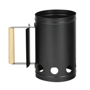 Anzündkamin Metall für Kohle und Briketts - Kohlestarter - D: 17cm, H: 27cm - Holzgriff