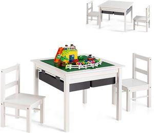 COSTWAY Kinder Spieltisch mit doppelseitiger Tischplatte, Bausteintisch mit Schubladen, Schreibtisch und Zeichentisch aus Holz, Kinder Sitzgruppe zum Zeichnen, Lesen, Basteln (Weiß)
