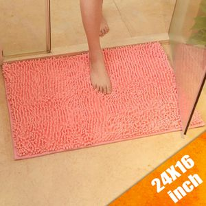 Rutschfester Badeteppich Weiche Matte Shaggy Boden Toilettenmatte Badezimmer Küche Absorbierend Badematte Rosa
