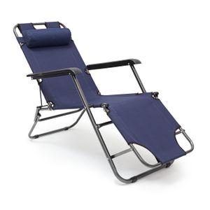 relaxdays 1 x Sonnenliege klappbar, Liegestuhl blau, Campingliege Bäderliege Strandliege