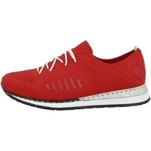 Rieker N3075-33 sportliche Damen Slipper Schnürschuhe Halbschuhe, Größe:41 EU, Farbe:Rot