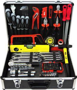FAMEX 745-48 Alu Werkzeugkoffer mit Werkzeug   Werkzeugkasten gefüllt   Werkzeug Set für Haushalt, Garage & Werkstatt   121-/164-tlg