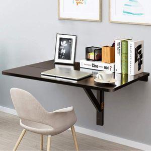 GOPLUS Wandtisch Hängetisch Klappbar, Klapptisch Platzsparend, Tragbarer Verstellbarer Wandklapptisch aus MDF und Kiefer, 80 x 60 x 45 cm, Laptoptisch Schreibtisch für Wohnzimmer Esszimmer (Braun)