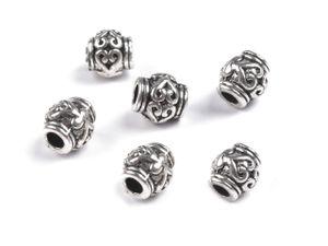 10 Schmuck-Perlen Metallperle Zwischenelement Spacer 7x6mm antik-silber -messing, Farbe:antik silber