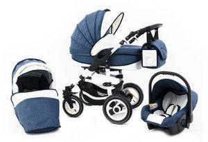 Tabbi ECO LN | 3 in 1 Kombi Kinderwagen | Hartgummireifen | Farbe: Blue