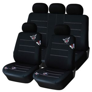 9 Sätze Autositzbezüge Set Vier Jahreszeiten universelle Sitzbezug wünschen, schwarz Schmetterling Stickerei Autozubehör Auto-Zubehör [ schwarz]
