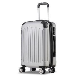 Koffer Flexot 2045 Handgepäck Koffer ( Bordcase ) - Farbe Silber Größe M - Reisekoffer - Trolley Hartschale