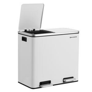 SONGMICS Mülleimer 48 L | Treteimer 2 x 24 L aus Edelstahl | Mülltrennung Mülltrennsystem mit 2 Inneneimern für die Küche weiß LTB48WT