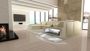 Wohnlandschaft Arezzo Leder, Farben:beige-weiß, Material:Kunstleder Premium, Sofa Ausrichtung Ottomane:Links - vor dem Sofa stehend, Bettfunktion:ohne Bettfunktion