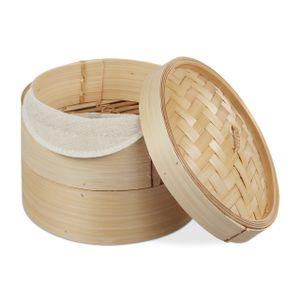 relaxdays Dampfgarer Bambus 2 Etagen 20,5 cm