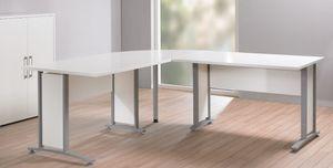 """Eckschreibtisch """"PRIMA"""" Winkelschreibtisch Schreibtisch in Weiß Grau"""